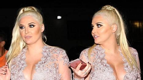 Kaksoset Kristina ja Karissa Shannon kuvattuna juhlimassa Hollywoodissa.