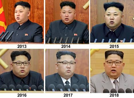 Pohjois-Korean uutistoimiston julkaisemia kuvia Kim Jong-unista tämän uudenvuodenpuheen yhteydessä vuosina 2013–2018.