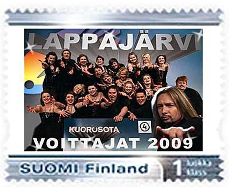 Lappajärven kuoron omaa postimerkkiä saa ostaa vain kuoron kotikunnasta Lappajärveltä.