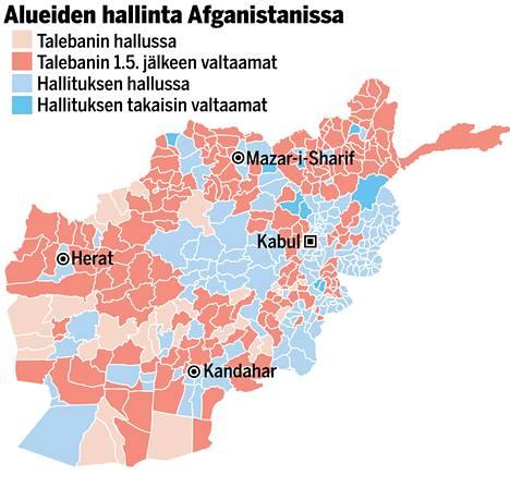 Taleban on vallannut suuria alueita toukokuun ja heinäkuun puolivälin välissä. Kartta pohjaa Afganistan Analyst Networkin rapottiin maan tilasta 14.7.