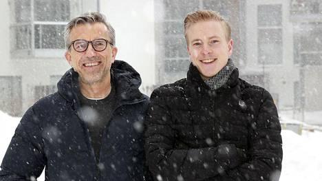 Jääkiekkoilija Janne Puhakka (oik.) tapasi norjalaisen kumppaninsa Rolf Nordmon ensi kerran Helsingissä 2014.