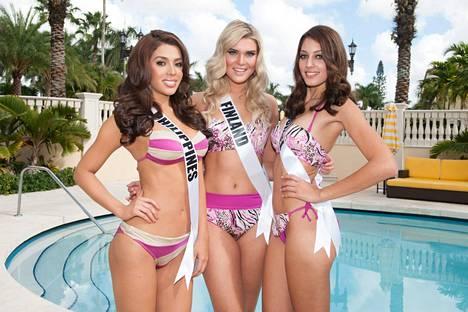 Miss Israel (oik.) kuvassa Miss Filippiinien ja Miss Suomen kanssa.