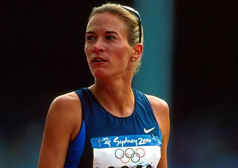Suzy Favor Hamilton kilpaili kolmissa olympialaisissa. Kuva on Sydneystä vuodelta 2000.