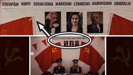 Kokoomusnuorten iltamissa seinällä oli Marxin, Marinin ja Leninin kuvat.