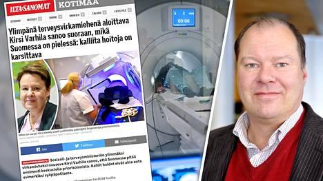 STM:n kansliapäällikkönä lokakuun alussa aloittava Kirsi Varhilan mukaan julkisella rahalla annettavien hoitojen ja palvelujen reunaehdot pitäisi määritellä tarkemmin. – Priorisoinnissa tehdään päätöksiä jollakin muulla perusteella kuin lääketieteellisellä, huomauttaa Lapin sairaanhoitopiirin ylilääkäri Markku Broas (kuva oik.).