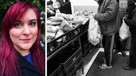 Mimosa Partanen ei yllättynyt huipputuloisten mielipiteistä. Kuvassa oikealla on Pelastusarmeijan sosiaalipalvelukeskuksen leipäjono Helsingissä joulukuussa 2016.