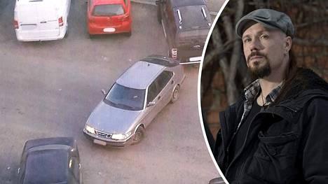 Ville Laihiala sai syytteen törkeästä rattijuopumuksesta, liikennerikkomuksesta sekä kulkuneuvon kuljettamisesta oikeudetta. Kuva välikohtauksesta, kun Laihiala ajoi henkilöautolla pakettiautoon.