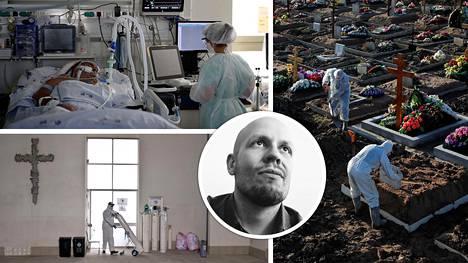 Mikael Mieskolainen (kesk.) oli mukana viiden hengen huippututkijaryhmässä, joka selvitti keskimääräistä kuolleisuutta koronaviruksen aihettamaan covid-19-infektioon.