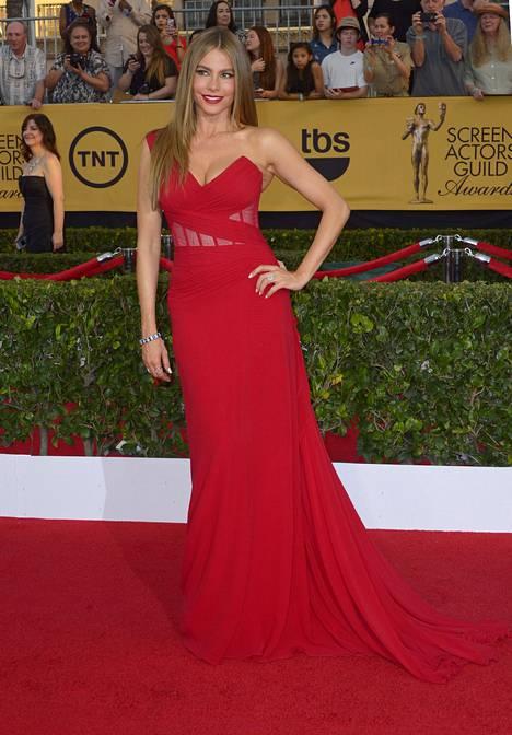 Donna Karanin punaiseen leninkiin pukeutunut Sofia Vergara on tottunut katseidenkääntäjä.