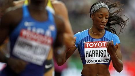 Kendra Harrison oli hankaluuksissa välieräjuoksussaan.