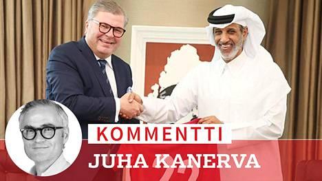 Virkaveljet: Palloliiton puheenjohtaja Ari Lahti tapasi samaa tointa hoitavan qatarilaisen sheikin Hamad bin Al Thaninin.
