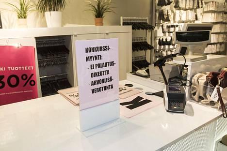 Konkurssipesästä ostetuilla tuotteilla ei ole palautusoikeutta.