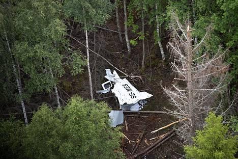 Turmakoneen osa metsässä Uumajan ulkopuolella 15. heinäkuuta 2019.