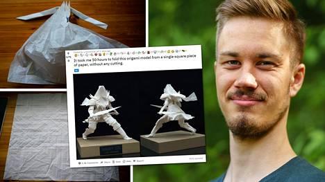 Könkkölä kertoo harrastaneensa origamitaidetta 15 vuotta.