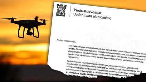 Ilta-Sanomat sai tiedon siitä, että Puolustusvoimat on lähestynyt droneista kiinnostuneita suomalaisia kuvassa näkyvällä kirjeellä.