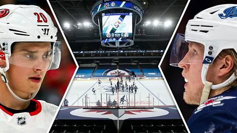 Sebastian Aho (vas.) ja Patrik Laine kuuluvat NHL:n kirkkaimpiin suomalaistähtiin.