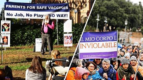 Vuonna 2017 Sydneyssa protestoitiin lasten pakkorokottamista vastaan. Vasemmalla helmikuussa 2018 rokotuspakon kiristyksiä vastustavia mielenosoittajia Roomassa.