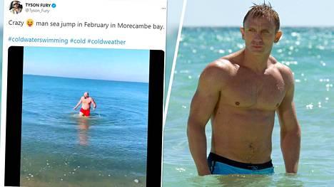 Tyson Fury (vas.) uimassa ja Daniel Craig James Bondina elokuvassa Casino Royale vuonna 2007.