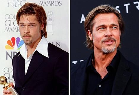 Mies sen kuin komistuu, eikö? Brad Pitt voitti Golden Globen vuonna 1995 roolistaan elokuvassa 12 apinaa. Oikealla Brad Ad Astra -leffan ensi-illassa vuonna 2019.