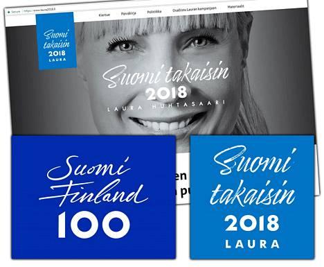 Laura Huhtasaaren presidenttikampanjan logo (oik.) muistuttaa Suomi 100 -juhlavuoden logoa (vas.).