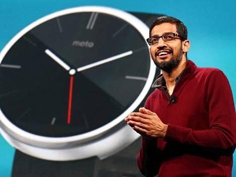 Googlen Android- Chrome- ja sovellustuotteiden johtaja Sundar Pichai puhui eilen San Franciscossa.