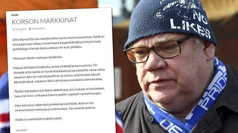 Timo Soini kirjoitti blogissaan Korson tapahtumista.