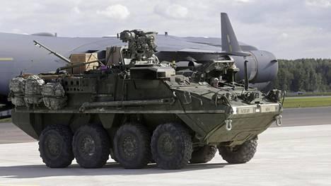 Yhdysvaltain armeija käyttää Stryker-panssariajoneuvoja.
