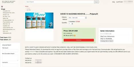Suositulla darknet-sivustolla myydään väitettyä Pfizerin koronarokotetta 40 dollarilla. IS havaitsi kuvan olevan uutistoimisto Reutersilta varastettu kuvituskuva.
