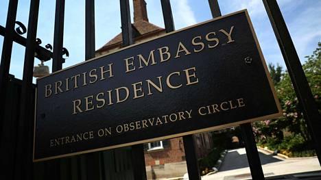 Britannian suurlähettilään virka-asunto Washingtonissa 10. heinäkuuta 2019.
