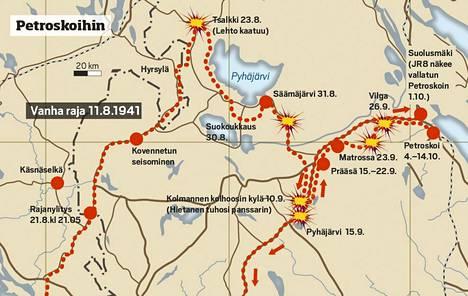 Pyhäjärven-Sotjärven kannaksen kautta JR 8 etenee kohti Petroskoita. Niillä seuduin tehdään raskas suokoukkaus.
