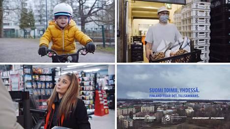 Aku Louhimiehen ohjaamassa videossa kuvataan tavallisia ihmisiä ja heidän työtään epidemiaoloissa. Kuvat Valtioneuvoston kanslian hyväksymästä uudesta versiosta.