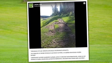 """Nurmikkovarkaat iskivät lahtelaiselle golfkentälle – yön aikana katosi 20 neliötä: """"En olisi uskonut tätä näkeväni"""""""
