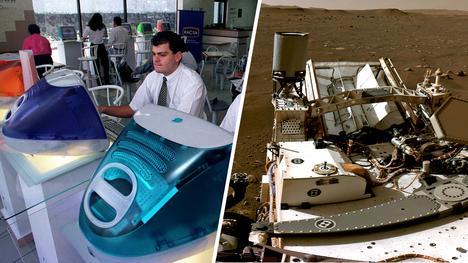 Vuonna 1999 julkaistuissa kuvan iMac-malleissa käytettiin jo hieman nopeampaa prosessoria kuin oikealla näkyvässä Perseverancessa.