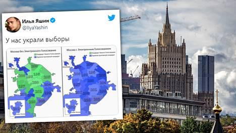 Ilja Jashin jakoi kartan siitä, kuinka sähköiset äänet muuttavat Moskovan vaalituloksen Venäjän vallanpitäjien suosimien ehdokkaiden eduksi.