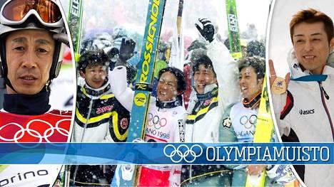 Masahiko Harada (vas.) ja Kazuyoshi Funaki (oik.) olivat Naganon talviolympiakisojen suurimpia sankareita. Heidän kanssaan joukkuekultaa taustalla olevassa kuvassa juhlivat Hiroya Saito (vas.) ja Takanobu Okabe (toinen vas.).
