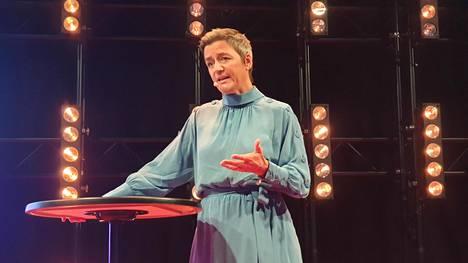 EU:n kilpailukomissaari Margrethe Vestager puhui Slushissa sekä suurelle yleisölle että lehdistölle.