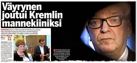 IS kertoi tiistaina Paavo Väyrysen joutuneen Kreml-mielisen liikkeen sivuille vääristellyssä valossa.