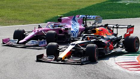 Max Verstappen pääsi Lance Strollin ohi sopuisasti Monzassa, mutta ei Portimaossa.
