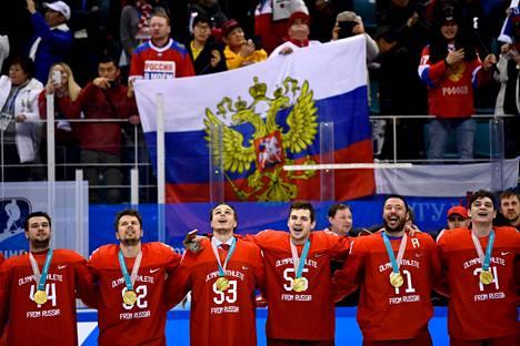 Venäläispelaajat lauloivat olympiahymnin päälle Venäjän kansallislaulun.