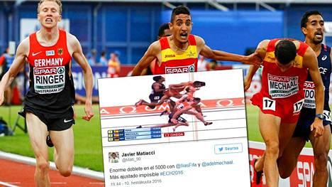 Miesten 5000 metrillä kärkinelikko mahtui sadasosan sisään. Kolme ensimmäistä sijaa eroteltiin tuhannesosilla.