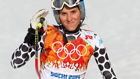 Macarena Simari Birkner osallistui syöksylaskuun.
