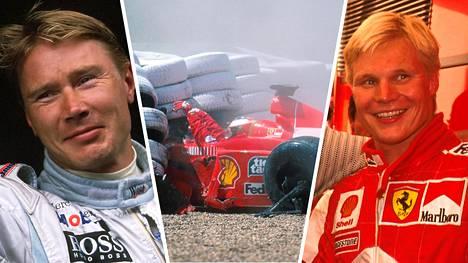 Mikat Häkkinen ja Salo loistivat F1-kauden 1999 tähtinä. Michael Schumacher sen sijaan kärsi vakavan loukkaantumisen.