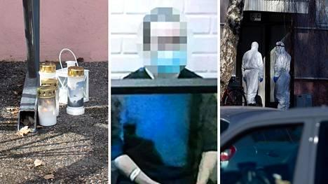 Vasemmalla: Kynttilöitä tapahtumapaikalla sunnuntaina. Keskellä: syytetty oikeudessa tiistaina. Oikealla: Poliisin tutkimuksia paikalla lauantaina.