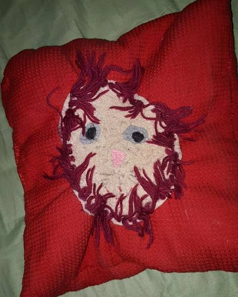 """""""Teimme tyynyn koulussa. Teema oli leijonan pää tyynyyn käsin ommeltuna. Juuri valmiina se näytti vielä kivalta, mutta parin muuton jälkeen tyyny oli likaantunut, joten päätin laittaa sen pesukoneeseen. Pesussa se menetti täysin muotonsa ja muuttui epämääräiseksi möykyksi. Sitä ei voi kuitenkaan heittää pois, sillä lapsuusmuistona ja omalla tavallaan se vielä viehättää"""", Meri Lust kertoo."""