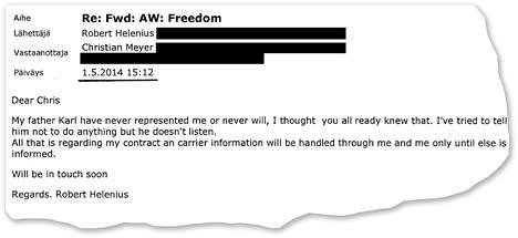 Käräjäoikeuden asiakirjoista löytyy muiden muassa tämä Robert Heleniuksen Sauerland-tallin toimitusjohtajalle lähettämä sähköpostiviesti.