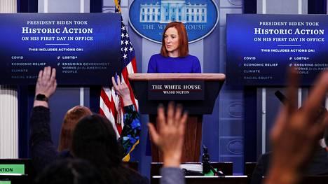 Uusi lehdistösihteeri Jen Psaki astui median eteen keskiviikkona.