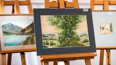 Hitlerin tekemäksi väitettyjä maalauksia huutokaupassa.