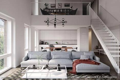 Yksi arvoasunnoista on tämä, Helsingin kantakaupungissa, meren rannalla sijaitseva asunto. Kuva on visualisointi, ja pelkästään suuntaa antava.