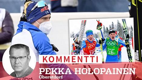 Viestimitali on jäänyt Iivo Niskaselta haaveeksi. Oikealla Niskanen (vas.) ja Sami Jauhojärvi juhlivat olympiavoittoa Sotshissa 2014.