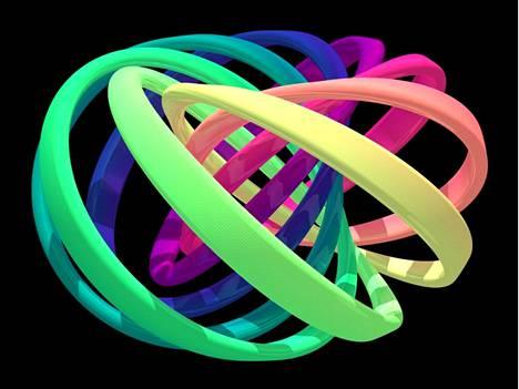 Kvanttisolmun jokainen värillinen nauha edustaa joukkoa lähekkäisiä solmulla olevan kvanttikentän suuntia. Jokainen nauha on kiertynyt itsensä ympäri ja ympäröi muut nauhat kerran. Solmun avaaminen edellyttää nauhojen erottamista rikkomalla ne.
